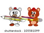 vector   drawing.a bear drawing ... | Shutterstock .eps vector #105581099