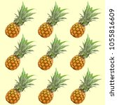 pineapple on pastel yellow... | Shutterstock . vector #1055816609