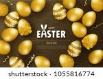 happy easter background with... | Shutterstock .eps vector #1055816774
