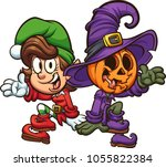 christmas and halloween... | Shutterstock .eps vector #1055822384