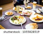 breakfast buffet concept ...   Shutterstock . vector #1055828519