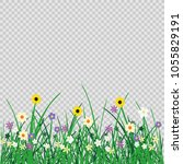 wild flowers plant and grass on ... | Shutterstock .eps vector #1055829191