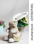 Small photo of Easter bunny with flowers in a wicked basket.