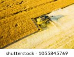 aerial view of summer harvest.... | Shutterstock . vector #1055845769