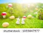 happy easter concept. easter... | Shutterstock . vector #1055847977