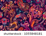 colorful paisley wallpaper.... | Shutterstock .eps vector #1055848181