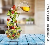 flying vegetable greek salad... | Shutterstock . vector #1055857634