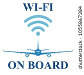 wi fi on the board of a plane ... | Shutterstock .eps vector #1055867384