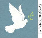 Dove With Olive Branch. Vector...