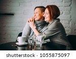 beautiful lesbian couple. lgbt... | Shutterstock . vector #1055875097