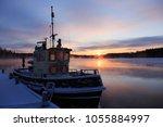 old steamship sailing... | Shutterstock . vector #1055884997