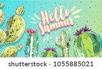 hello summer. watercolor cactus ... | Shutterstock .eps vector #1055885021