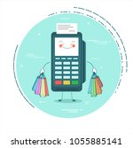pos terminal with shopping bags ... | Shutterstock .eps vector #1055885141