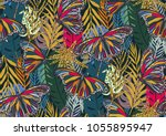 seamless pattern with trendy... | Shutterstock .eps vector #1055895947