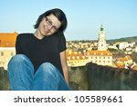 young woman in Cesky Krumlov - stock photo