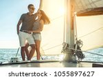 romantic couple in love on sail ... | Shutterstock . vector #1055897627