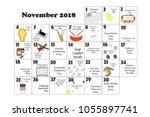 november 2018 monthly calendar... | Shutterstock . vector #1055897741