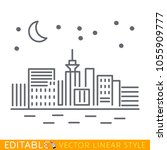 city skyline at night. starry... | Shutterstock .eps vector #1055909777