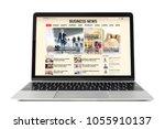 business news website on laptop....   Shutterstock . vector #1055910137