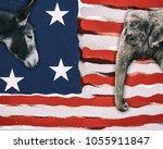 political animals  a donkey... | Shutterstock . vector #1055911847