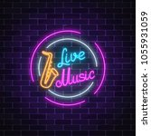 neon sign of bar with live...   Shutterstock .eps vector #1055931059