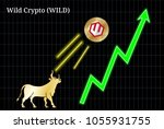 gold bull  throwing up wild... | Shutterstock .eps vector #1055931755