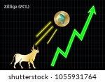 gold bull  throwing up zilliqa  ... | Shutterstock .eps vector #1055931764