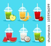 set smoothie or milkshake in... | Shutterstock .eps vector #1055936099