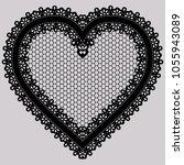 black lace heart. ornate... | Shutterstock .eps vector #1055943089