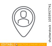 map pointer with man icon.... | Shutterstock .eps vector #1055957741