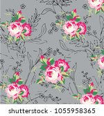 floral pattern in vector | Shutterstock .eps vector #1055958365