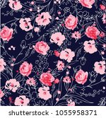 trendy floral pattern in the... | Shutterstock .eps vector #1055958371