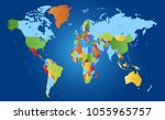 color world map vector | Shutterstock .eps vector #1055965757