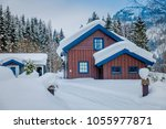 view of traditional wooden... | Shutterstock . vector #1055977871