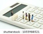 miniature people pay queue...   Shutterstock . vector #1055988521