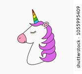 unicorn head with pink mane and ... | Shutterstock .eps vector #1055995409