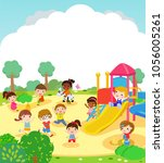children playing in the park | Shutterstock .eps vector #1056005261
