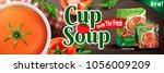 tomato instant soup  refreshing ... | Shutterstock .eps vector #1056009209
