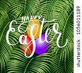 happy easter lettering ... | Shutterstock .eps vector #1056011189