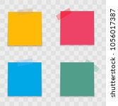 realistic colorful note papers... | Shutterstock .eps vector #1056017387