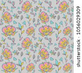 flower pattern seamless in... | Shutterstock .eps vector #1056029309