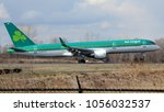 Small photo of Philadelphia, PA - March 25th, 2018: The First Ever Aer Lingus Flight, a Boeing 757-2Q8, to Fly to Philadelphia International Airport Landing on a Runway