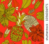 tropical flowers and fruits ...   Shutterstock .eps vector #1056036971