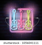 musical instruments with neon...