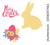 vector set for easter. bunny ... | Shutterstock .eps vector #1056057461