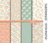 collection of retro seamless... | Shutterstock .eps vector #1056062891