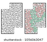 illustration with labyrinth... | Shutterstock .eps vector #1056063047