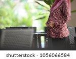 muslim pregnant women   close up | Shutterstock . vector #1056066584