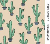 cactus in a pot  | Shutterstock .eps vector #1056074369