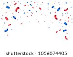many falling blue and red tiny... | Shutterstock .eps vector #1056074405